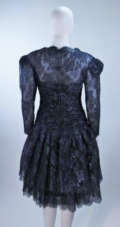 ARNOLD SCAASI Navy Metallic Lace Cocktail Dress S… - image 6