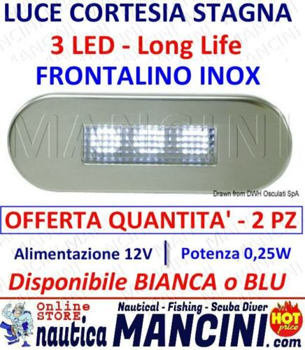 LUCE DI CORTESIA LED STAGNA INCASSO 12V FRONTALINO INOX KIT BARCA CAMPER NAUTICA