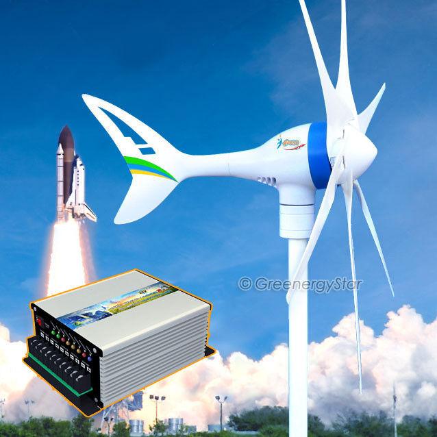 Apollo MAX 650 W 24V AC Magnet Wind Turbine Generator 6 Blade+Hybrid Controller