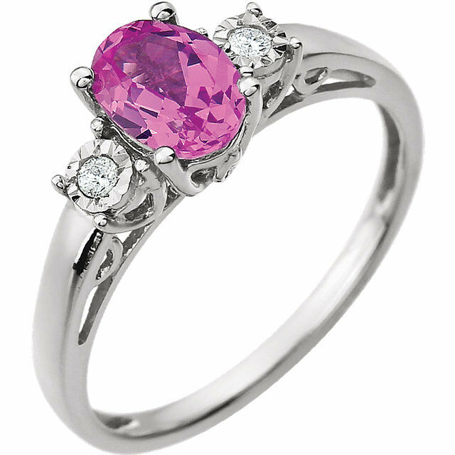 14k White gold Created Pink Sapphire and Diamond Ring