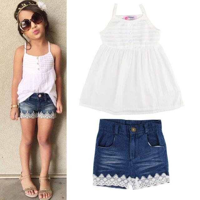 2pcs Kids Baby Girls Outfits Set Tank Top T-shirt Dress+Jeans Pants Clothes 2-7Y