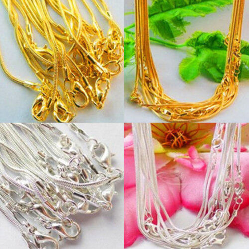 Hot 5//10pcs Silver Plated//Gold Plated 1.0mm Snake Chain Necklace Crafts DIY 43cm