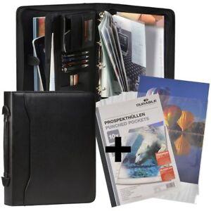 Konferenzmappe A4 mit Griff Verkaufsmappe schwarz Orgamappe + 10 Prospekthüllen