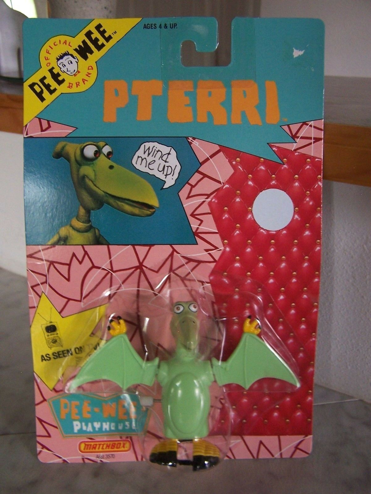 1988 PEE-WEE Playhouse Vintage Matchbox PTERRI Wind Up toy action Figure (NEW)