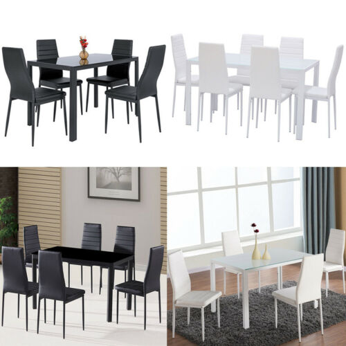 Toughened Glass Dining Table and Upholstered Chairs Set Cafe Office Kitchen Home