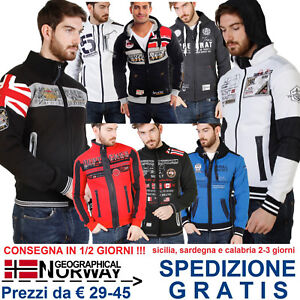 Geographical-Norway-Giacca-Felpa-Uomo-con-Cappuccio-per-Tuta-Moda-Casual-Fashion