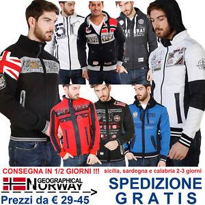 Geographical-Norway-Giacca-Felpa-Uomo-con-Cappuccio-per-Tuta-Moda-Casual-Fashion