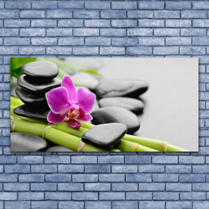 Print on Glass Wall art 140x70 Picture Image Flower Bamboo Tube Stones Art hanging decorations Wall Hangings