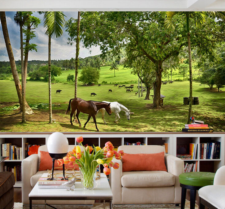 3D Horse, prairie 246 Wall Paper Print Wall Decal Deco Indoor Wall Murals