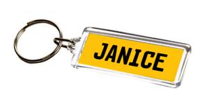 NUMBER-PLATE-KEYRING-Janice-Girls-Name-Gift