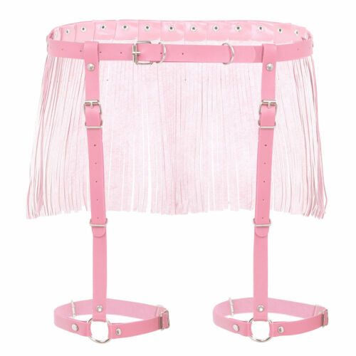 1x Womens Fashion Punk Adjustable Waist Belt Leg Garter Cage Harness Chain