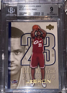 2005-LeBron-James-UPPER-DECK-GOLD-ROOKIE-OF-THE-YEAR-SP-23-LJ23-BGS-9-9-5-subs