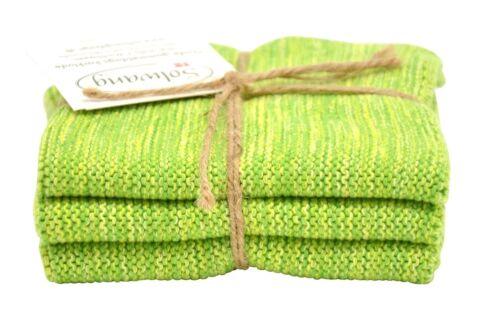 Solwang Design DK Spucktuch gestrickt 3er Set grün meliert Wischtuch
