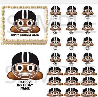 Kitchen, Dining & Bar Home & Garden Football Poop Emoji Edible Cake Topper Image Cupcakes Poop Helmet Football Cake Skillful Manufacture