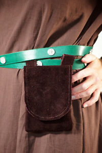 Medieval-Larp-Sca-Re enactment BROWN LEATHER MERCHANT Hang from Belt Bag