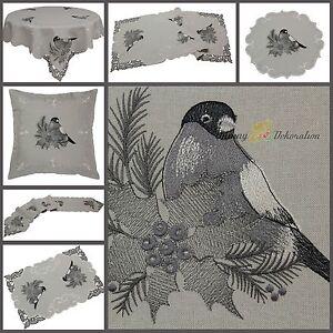 Grau-Tischdecke-Tischlaeufer-Mitteldecke-Kissenhuelle-Leinen-Optik-Winter-Vogel