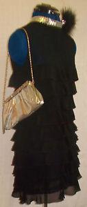 Vintage-MISO-retro-chic-burlesque-60-039-s-inspired-black-floaty-layered-mini-dress