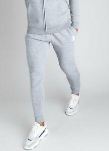 Gym-King-Mens-New-Basis-Joggers-Bottoms-Fleece-Lined-Grey-Marl