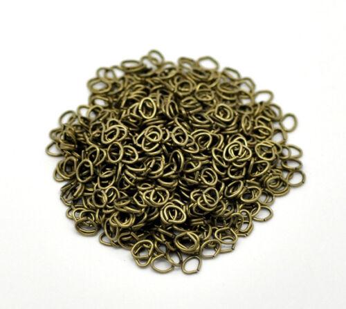 collier 100 Anneaux de jonction Ovale Bronze 5mm x  4mm ouvert creation bijoux