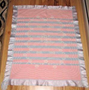 Vintage White Pink Blue Flower Stripe Baby Blanket Satin