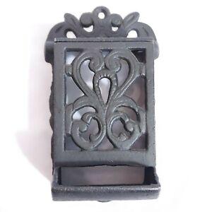 Vintage-Cast-Iron-Black-Ornate-March-Matchbook-Wall-Holder-Flip-Top-2pcs