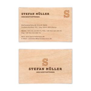 Visitenkarten individuell Business Karten 300g/qm 85 x 55 mm - Holzoptik