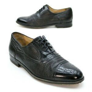 Johnston-Murphy-Men-039-s-9-M-Domani-Black-Leather-Cap-toe-Brogued-Oxfords-Italian