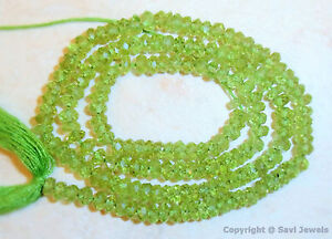 """A+++ PERIDOT Micro Faceted RONDELL 3.5-4mm Gemstone Beads 14"""" Strand"""