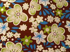 Dekostoff Patchworkstoff Patchwork Baumwollstoff braun mit Blumen 30 cm x 140 cm