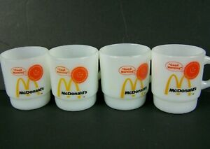 Vintage-McDonalds-Anchor-Hocking-Fire-King-Coffee-Cups-Mugs-Milk-Glass-Lot-of-4
