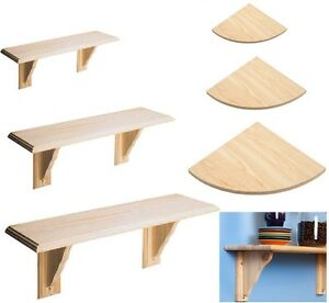 Wooden-Natural-Wood-Shelf-Kit-amp-Fitting-Storage-Unit-Wall-Mounted-Corner-Shelves