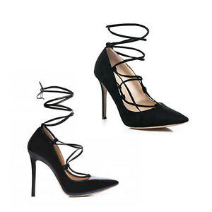 WOMENS-LADIES-HIGH-STILETTO-HEEL-TIE-UP-POINTED-TOE-LACE-UP-COURT-SHOES-SIZE-2-7