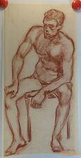 Jules Germain sanguine et dessin fusain et crayon années 1910/40 homme nu/JG5