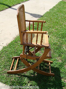 Vintage Child S High Chair Rocker Rocking Adjustable Oak