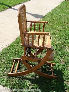 vintage child s high chair rocker rocking adjustable oak wood w cane