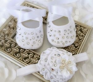 786a86fb4b8f9 Details about Baby Girl White Rhinestones Blink Cross Christening Baptism  Shoes Satin Headband