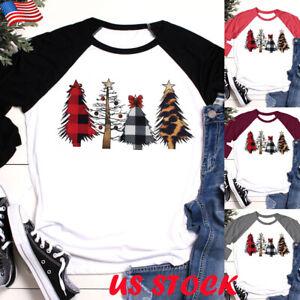Women-039-s-Christmas-Tree-Print-Regular-Sleeve-T-shirt-Xmas-Long-Sleeve-Tops-Blouse