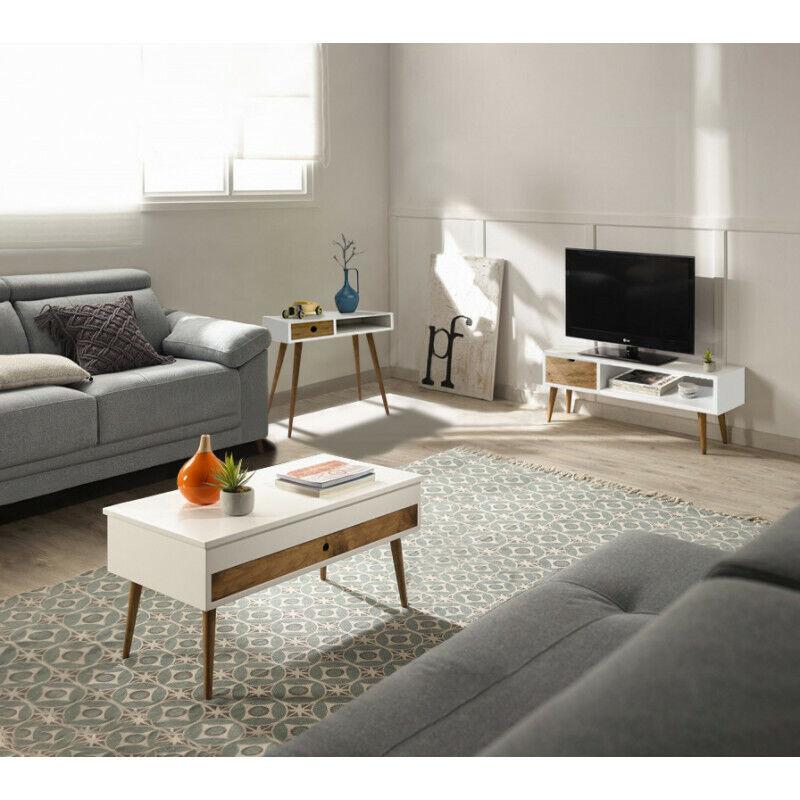 Conjunto madera:Mesa elevable cajón deslizante + Mueble Tv Pino + Consola blanco