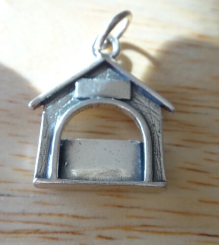 Sterling Silver 20x22mm Engravable 3 gram Dog House Picture Frame Charm