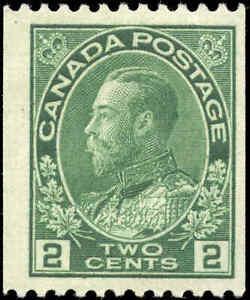 1924-Mint-H-Canada-2c-F-Scott-133-Admiral-KGV-Coil-Stamp