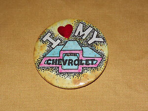 VINTAGE OLD CAR AUTO 1970S  I LOVE MY CHEVROLET BUTTON NOS NEW OLD STOCK