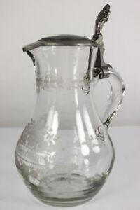 Glas-Krug-Zinn-Montierung-Porzellan-Malerei-Deckel-Zum-Andenken-Glas-geschliff