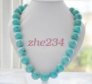 8-10-12-14mm-Natural-Blue-Turquoise-Round-Gemstone-Beads-Necklace-18-034-AAA