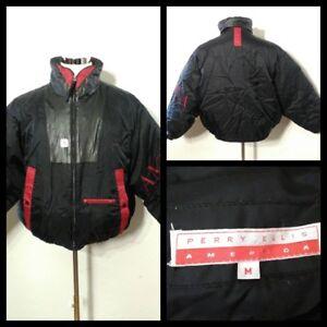 aebc26dc01 Perry Ellis America Down Jacket Men s Med. Black   Red Full Zip Inv ...