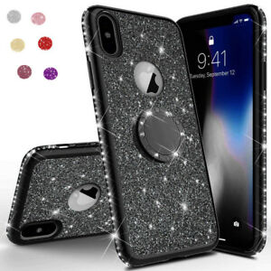 new arrival 01b7b e327c Details about For iPhone XS Max XR X 8 7 6s Crystal Diamond Bling Case Ring  Holder Stand Cover