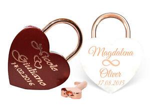NEU Liebesschloss Herz ROT oder WEIß -rosegold+ Gravur nach Wunsch Groß 60x45mm