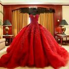 Luxury Red Appliques Evening Prom Dresses Vintage Ball Gown Wedding Party Dress