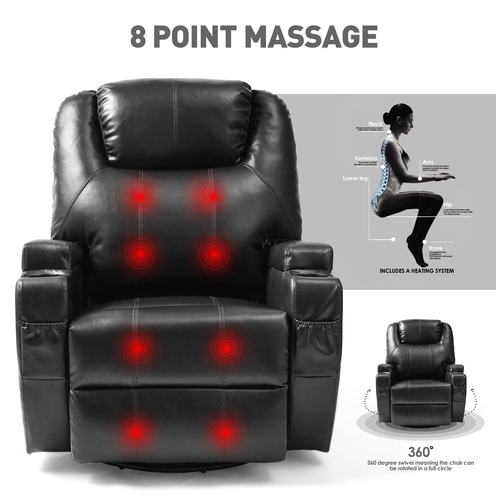 Awe Inspiring Full Body Massage Recliner Chair Leather Vibrating Heat Lounge 3600 Swivel Black Short Links Chair Design For Home Short Linksinfo