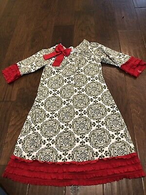 Counting Daisies Red And Green Dress 7 Ebay