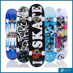 SKATEBOARD-RETRO-COMPLETE-DECK-CRUISER-SKATER-SKATING-WOODEN-BOARD-31-034-ABEC9-78